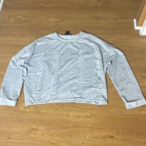 See You Monday Gray Sweatshirt Cuts in it Size S